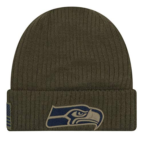 New Era Seattle Seahawks Beanie On Field 2018 Salute to Service Knit Green - One-Size
