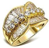18k Vergoldet Ringe, Damen Hochzeit Bands Gold Blumen Cut Rhinestein Inlay Gr.60(19.1) Epinki
