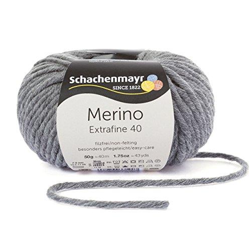 Merino Extrafine 40 Schachenmayr medium meliert (Fb 392) * 50g Knäuel * Merinowolle zum stricken von Mützen, Schals und Loops in grau – Winterwolle Nadelstärke 7-8 mm in vielen tollen Farben – Wolle für Mützen und Schals aus 100% Merino Wolle inkl. GRATIS MyOma Label