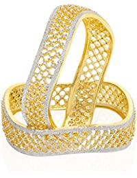 Jewels Galaxy Incredibly Designed AD Gold Plated Bangle Set For Women/Girls