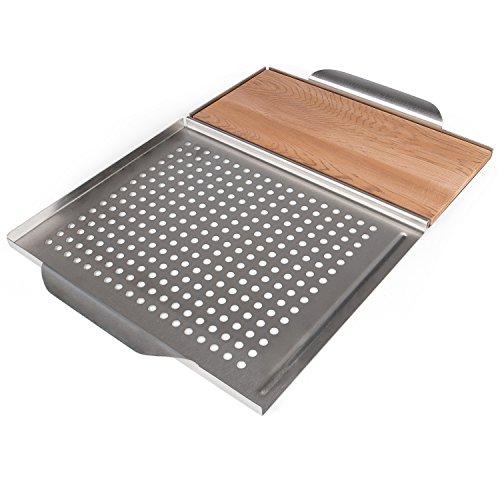 Rustler Tavoletta Legno e Griglia per Barbecue Set Tavoletta per Planking e Vassoio dotato di Griglia Acciaio Inossidabile al Carbonio Argento