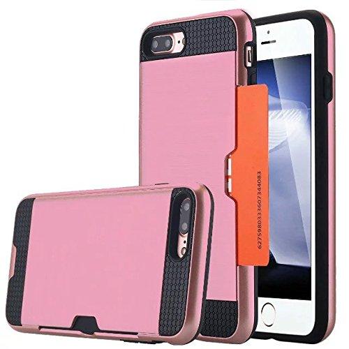 iPhone 7 Coque, Lantier [Card Slot Wallet Series] Housse de protection double couche Armure hybride robuste en plastique dur Shell flexible TPU Shock-Absorption pour iPhone 7 (4,7 pouces) Cyan Pink