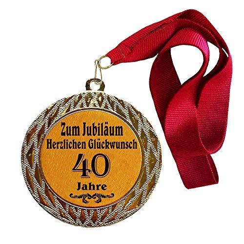 Larius Group Medaille Orden zum Jubiläum 40 Jahre Auszeichnung Ehrenorden zum Geburtstag Geschenk Jubilar Persönlichen Orden Wunschtext (mit Halsband)