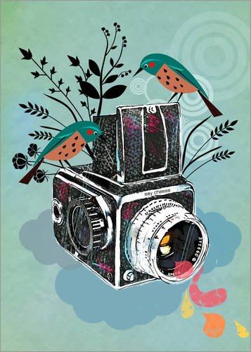 Póster 30 x 40 cm: Vintage Camera with Bluebirds de Elisandra Sevenstar - impresión artística de alta calidad, nuevo póster artístico