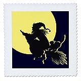 3dRose QS 23445_ 1Hexe auf Besen vor Mond Quilt Platz,