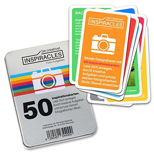 Inspiracles Foto Aufgaben - Inspiration & Fotografieren Lernen mit 40 Aufgabenkarten & 10 Spickzetteln