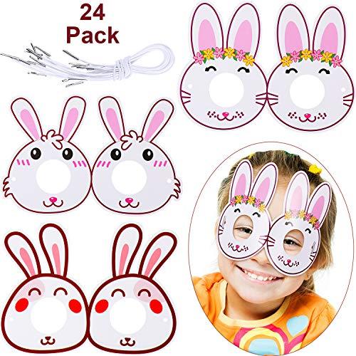 Yaomiao 24 Stück Osterhasen Brillen Ostern Kostüm Brille Karton Bunny Brillen Ostern Tag Party Favors für Kinder - Kostüm Mit Karton