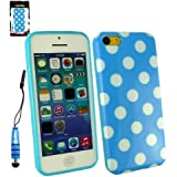 Emartbuy ® Eingabestift Pack für Apple Iphone 5c Blue Metallic Mini Eingabestift + LCD Displayschutzfolie + Blue / White Polka Dots Gel Skin Cover / Schutzhülle