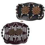 Jiamins Retro Handgefertigt Holzperlen Doppelt Haarkämme Haarnadeln Stretchy Damen Haarschmuck,Geeignet für Jede Art von Haar,11cmx8cm (Kaffee)