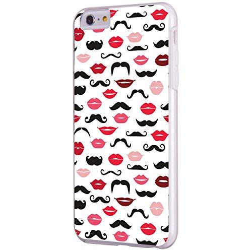 iPhone 6 6S Plus 14 cm Fall, Hülle, Case True Color® Hipster Schnurrbart und Lippen Slim Hybrid Hard Back + weich TPU Bumper Schutz Langlebig [True Schützen Serie] + kostenlosem Stylus und Displayschu weiß