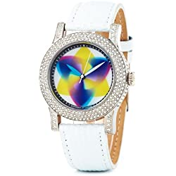 Rainbow e-motion of color Women's Quartz Watch EX44-WL-tr with Leather Strap