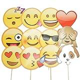 Veewon Emoji Accessoires de photobooth Photo Cabine Props Articles pour fêtes 12 pièces Kit de bricolage drôle pour la fête des pères, anniversaire, mariage, fête de carnaval Accessoires de mode de fantaisie