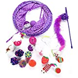 17pcs/set Interactive Cat Toys Mouse Crinkle Ball Cat Tunnel Feather Cat Stick Wand Pet Toys For Cat Kitten