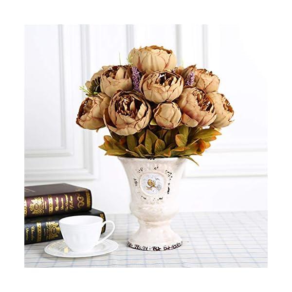 Turelifes – Ramo de flores de peonía artificial vintage para decoración de boda o hogar