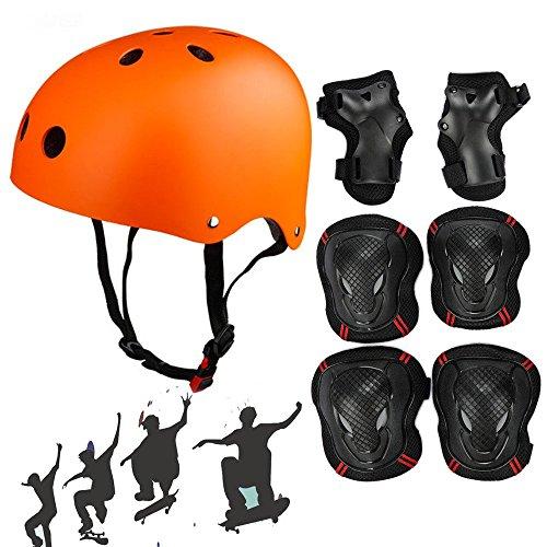 Skateboard Protektoren Set mit Helmet, SymbolLife BMX Helmet Knie Pads Elbow Pads mit Handgelenkschoner für Skate, Fahrrad, Skateboard, Roller Skate und anderen Extreme Sports, Größe L, Orange (Mesh-kniebandage)