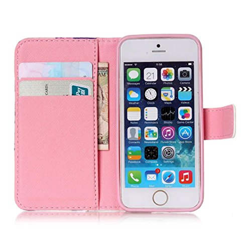 iPhone SE Hülle Case,iPhone 5S Hülle Case,Gift_Source [Smile] [Kickstand Flip] [Card Slot] Cute PU Leder Brieftasche Hülle Case Soft TPU Hülle Case Folio Flip Hülle Case Cover für Apple iPhone SE / iP E01-21-Three elephants