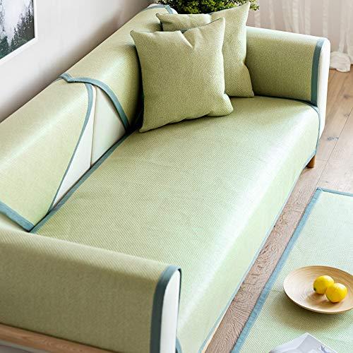 CClz Rattan Nicht-Slip Sofakissen, Sommer Sectional Sofa Deckel Staub-Beweis Fleck-resistent Möbel Protector Seat Dämpfung Multi-größe Matten-hellgrün 70x90cm(28x35inch) -