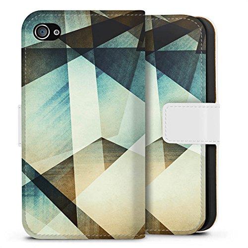 Apple iPhone X Silikon Hülle Case Schutzhülle Muster Grafisch Grün Sideflip Tasche weiß