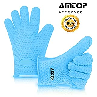 AMTOP Best Heat Resistant Silicone Oven & Barbecue Gloves, BBQ Grilling Gloves, Kitchen Cooking Gloves, Special for Cooking / Food Prep / House Cleaning / Kitchen / Pot Holding, Dishwasher Safe, Premium Grade FDA Approved - 1 pair (Blue)