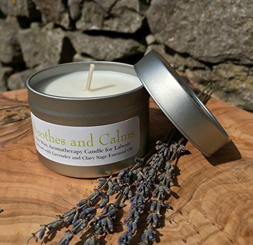 Aromatherapie-Kerze für die Wehen–Für die Hilfe bei Stress und Angst während der Geburt, 100{6446223712350961fad1aa25060307f63f474dfaf4bb0badee9a5b3ce07e0191} natürlicher Lavendel und Muskatellersalbei, aus Sojawachs