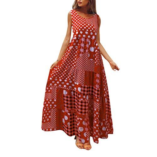 d70d59ddbe Longzjhd Vintage Maxi Dress pour Femme Sexy Dress sans Manches O Neck Robe  Plus Size Maxi