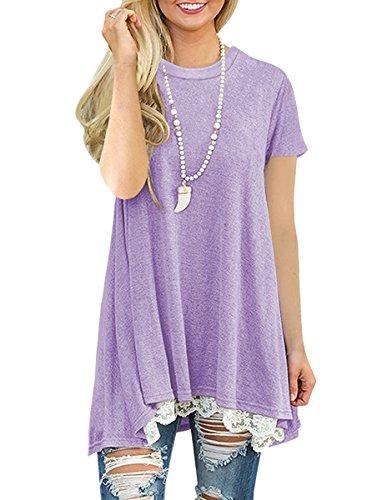 NICIAS Damen Sommer Kurzarm T-Shirt Pullover Rundhals Spitze Tunika Top Lässige Oberteil Bluse Shirt Violett M