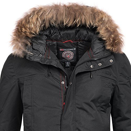 Geographical Norway Herren Jacke Winterparka Ametyste Fellkapuze Black