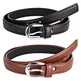 #8: Krystle Girl's Combo Set Of 2 PU leather belts (Black & Brown)