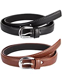 Krystle Girl's PU Leather Belts (KRY-GRL-BLK-BRN-BELT, Black and Brown, Free Size, Pack of 2)