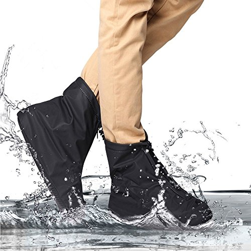 Reutilizable impermeable zapatos cubre antideslizante suelas con cremallera botas de nieve lluvia...