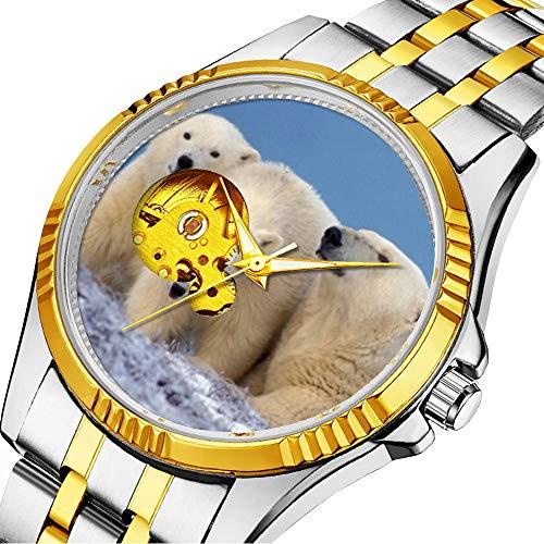 Lässige Männer automatische mechanische Uhr Luxusmarke lässige Sportuhren für männliche Persönlichkeit Zifferblatt & klares Fenster323.Eisbär, Ursus maritimus, säen mit Jungen - Männliche Eisbären