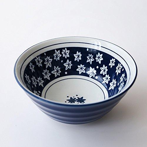 YUWANW A Large Bowl Of Noodles Soup Bowl Restaurant Ceramic Hand-Painted Retro Blue And White Porcelain Bowl Dish Salad,Maple Leaf (Maple Bowl)