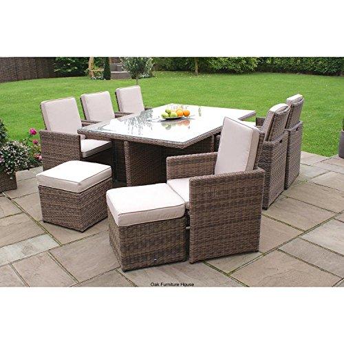 Dorset Rattan Garden Furniture 7 Piece Cube Dining Set With Footstools Gard