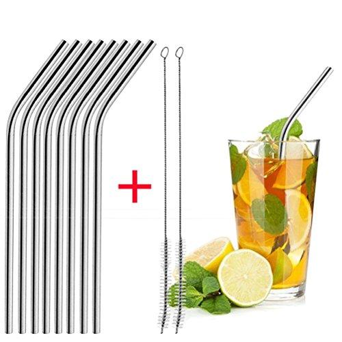 Rameng- Stroh Edelstahl, Set 8Trinkhalme Edelstahl Wiederverwendbar für Cocktail mit Videoleuchte Reinigungsbürste