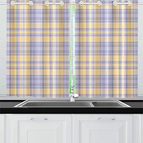 QIAOLII Plaid Küche Vorhänge Fenster Vorhang Ebenen für Café, Bad, Wäscheservice, Wohnzimmer Schlafzimmer 26 x 39 Zoll 2 Stück - Vorhänge Küche Plaid