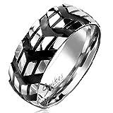 Autiga Cooler Edelstahl Ring Pfeil Winkel Reifen-Profil Herren Damen schwarz 59 - Ø 18,95 mm