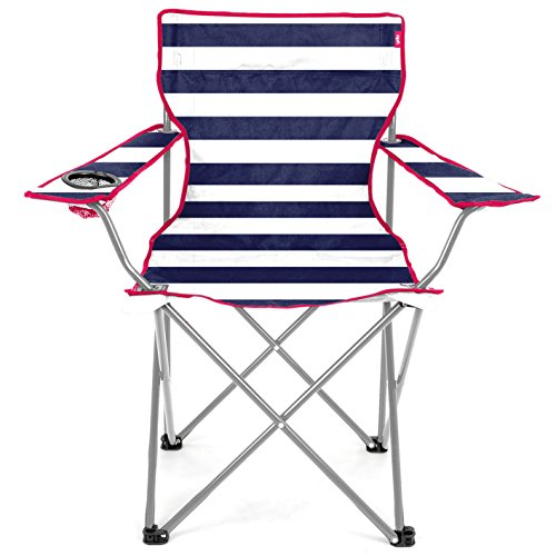 Yello Kids' Stripe Beach Folding Chair, Blue, 53 x 35 x 35 cm