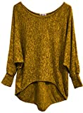 Emma & Giovanni - Basic Langarmshirt / Pullover- Damen (S/M, Ocker)