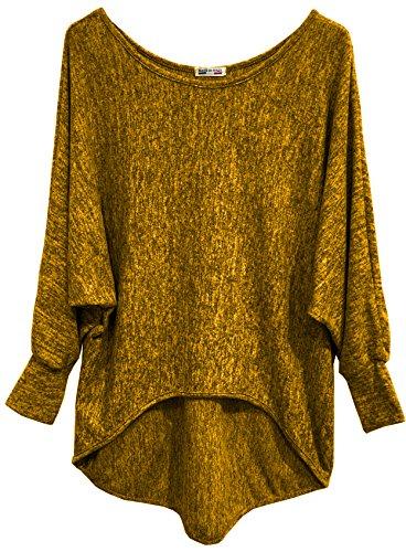 Emma & Giovanni - Basic Langarmshirt / Pullover- Damen (M/L, Ocker)