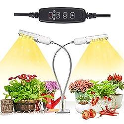 Niello® 50W Sunlike Lamp Auto Timer LED Pflanzenlampe Vollesspektrum Wachstumslampe, Zweikopf LED Grow Light mit Austauschbarem E27 Leuchtmittel,Professionelles für Sämlinge, Wachstum, Blüte