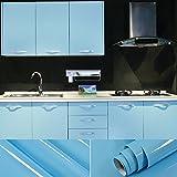 Graz Design - Pellicola adesiva per mobili, in PVC, 0,61 x 5,5 m, con raschietto e accessori, materiale plastico, Blu, 11M