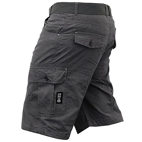 Herren Crosshatch Tarnung Shorts Cargo Kampf GÜRTEL Knielang Jeans Militär Magnet - POTTEDTWL