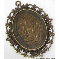 Bastel Express-Ciondolo a forma di medaglione con occhielli, dimensioni: 61 x 48 mm, da usare con adesivi, Cabochon, di vetro, 40 x 30 mm, per la realizzazione di gioielli, in bronzo, confezione da 10