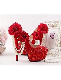 Kitzen Nuevas Mujeres Flor roja Zapatos de Imitación Zapatos de Boda de los Tacones Altos estupendos Zapatos de...