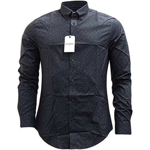 Ben Sherman -  Camicia Casual  - Basic - Con bottoni  - Maniche lunghe  - Uomo Concrete Large