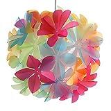 MiniSun Lampenschirm, für Hängeleuchte, Pendelleuchte, Kugel mit Blumen, mehrfarbig Ideal für Kinder oder zeitgemäßes Design, für Gewinde mit 28 mm oder 42 mm