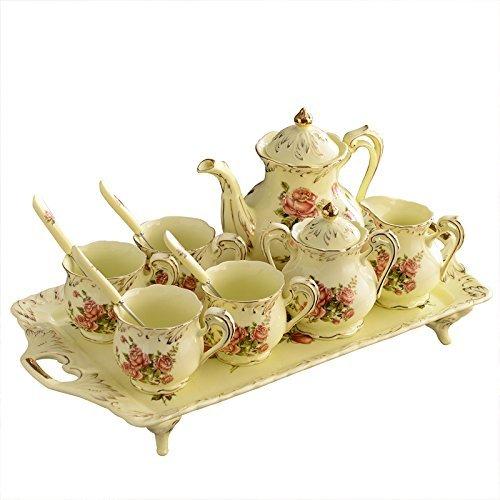 8 Piece Creative England européenne luxe peint à la fait main rouge et or de fleur de Rose Ivoire Porcelaine Céramique Set Café thé pour le mariage