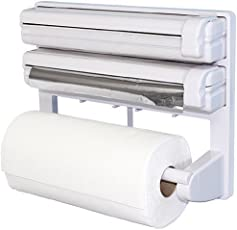 Urban Living 3 in 1 Kitchen Triple Paper Dispenser & Holder, White