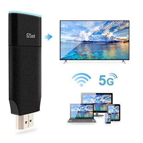 EZCAST [Verbesserte] 2.4G / 5G WiFi Display Dongle Kabellos 1080P HDMI Empfänger Doppelkern H.265 / H.264 Doppelt-Decoder Doppelband Unterstützung Miracast Airplay DLNA