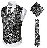 WHATLEES Herren Klassische Paisley Floral Jacquard Weste & Krawatte und Einstecktuch Weste Anzug Set BA0213-Silver-L